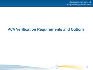 ACA Verification Requirements and Options
