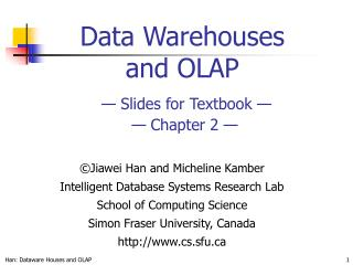 Data Warehouses and OLAP    Slides for Textbook      Chapter 2