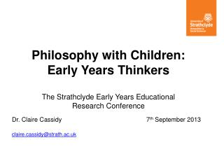 Philosophy with Children:  Early  Years Thinkers