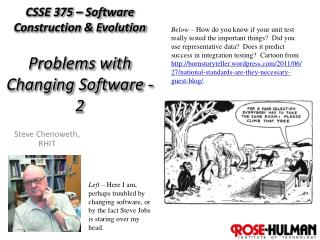 CSSE 375 – Software Construction & Evolution Problems with Changing Software - 2