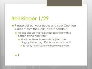 Bell Ringer 1/29