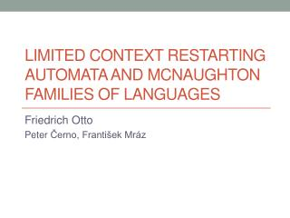 Limited Context Restarting Automata and McNaughton Families Of Languages