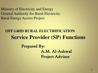 Ministry of Electricity and Energy General Authority for Rural Electricity