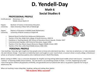 D.  Yendell -Day Math 6 Social Studies 6