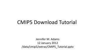 CMIP5 Download Tutorial