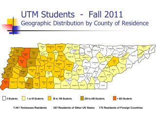 UTM Students  -   Fall  2011 Geographic Distribution by County of Residence