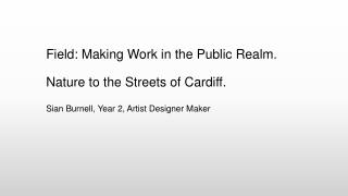 Field: Making Work in the Public Realm. Nature to the Streets of Cardiff.