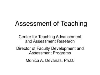 Assessment of Teaching