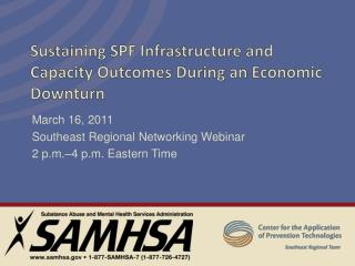 Sustaining SPF Infrastructure and Capacity Outcomes During an Economic Downturn