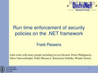 Run time enforcement of security policies on the .NET framework
