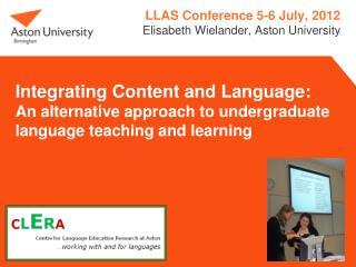 LLAS Conference 5-6 July, 2012 Elisabeth Wielander, Aston University