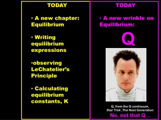 TODAY  A new chapter:  Equilibrium  Writing equilibrium expressions