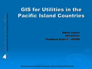 GIS for Utilities in the Pacific Island Countries