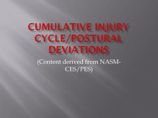 Cumulative injury cycle/Postural deviations