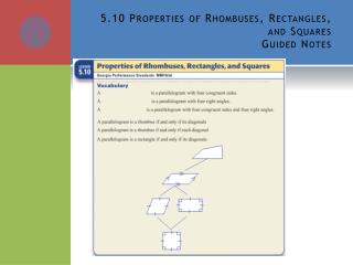 5.10 Properties of Rhombuses, Rectangles, and Squares Guided Notes