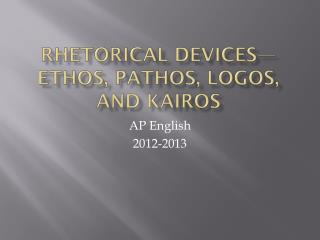 Rhetorical Devices—Ethos, Pathos, Logos, and  Kairos