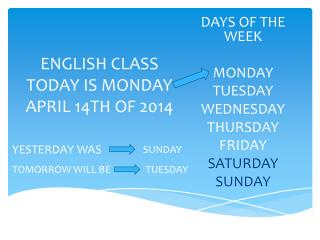 ENGLISH CLASS TODAY IS MONDAY APRIL 14TH OF 2014