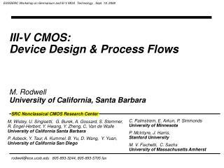 III-V CMOS:  Device Design  Process Flows