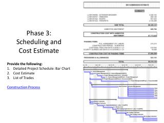 Phase 3:  Scheduling and  Cost Estimate