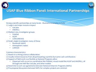 USAP Blue Ribbon Panel: International Partnerships