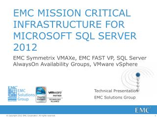 EMC MISSION CRITICAL INFRASTRUCTURE FOR MICROSOFT SQL SERVER 2012