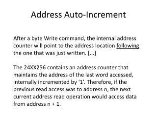 Address Auto-Increment
