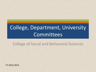 College, Department, University Committees