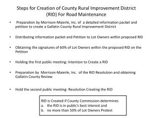 Steps for Creation of County Rural Improvement District (RID) For Road Maintenance