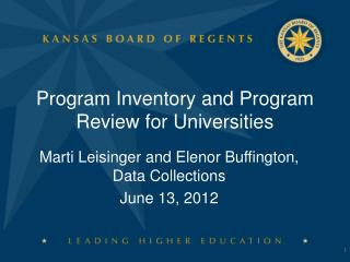 Program Inventory and Program Review for Universities