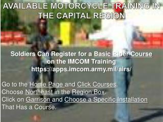 Soldiers Can Register for a  Basic Rider Course  on the  IMCOM  Training