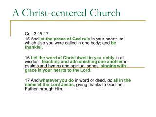 A Christ-centered Church