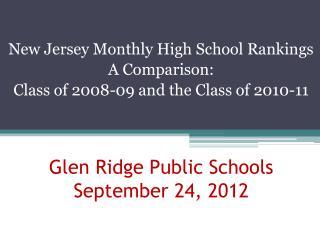 Glen Ridge Public Schools September 24, 2012