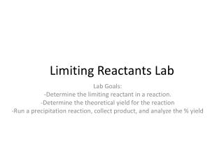 Limiting Reactants Lab