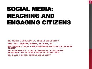 Social Media: Reaching and Engaging  Citizens