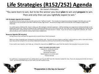 Life Strategies Agenda (64 minutes)