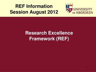 REF Information Session August 2012