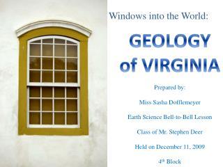 GEOLOGY of VIRGINIA