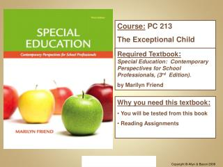 Course:  PC 213 The Exceptional Child