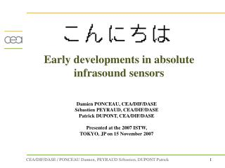 Early developments in absolute infrasound sensors