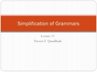 Simplification of Grammars