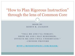 """How to Plan Rigorous Instruction"" through the lens of Common Core"