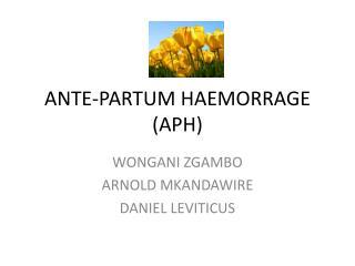 ANTE-PARTUM HAEMORRAGE (APH)