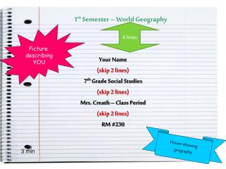 1 st  Semester – World Geography