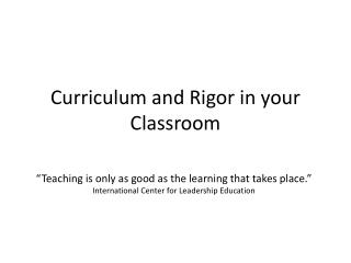 Curriculum and Rigor in your Classroom
