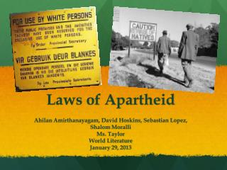 Laws of Apartheid