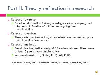 Part II. Theory  reflection in research