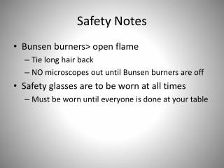 Safety Notes