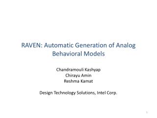 RAVEN: Automatic Generation of Analog Behavioral Models