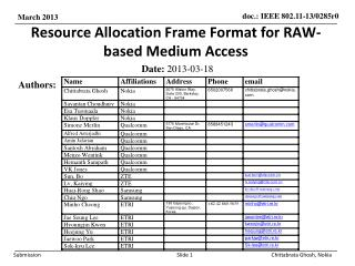 Resource Allocation Frame Format for RAW-based Medium Access