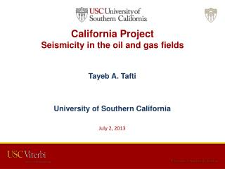 California Project  Seismicity in the oil and gas fields